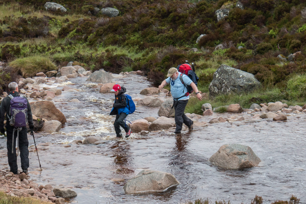 The first river crossing, and those in less than perfect footwear kicked off the walk with wet feet
