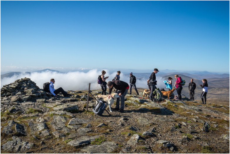 The summit of Mayar, treats for the dugs, and a chance to soak up the breathtaking views, with patches of low level cloud adding to the spectacle
