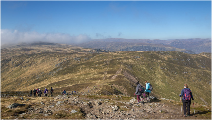 The descent from Driesh to the Bealach and some well deserved lunch