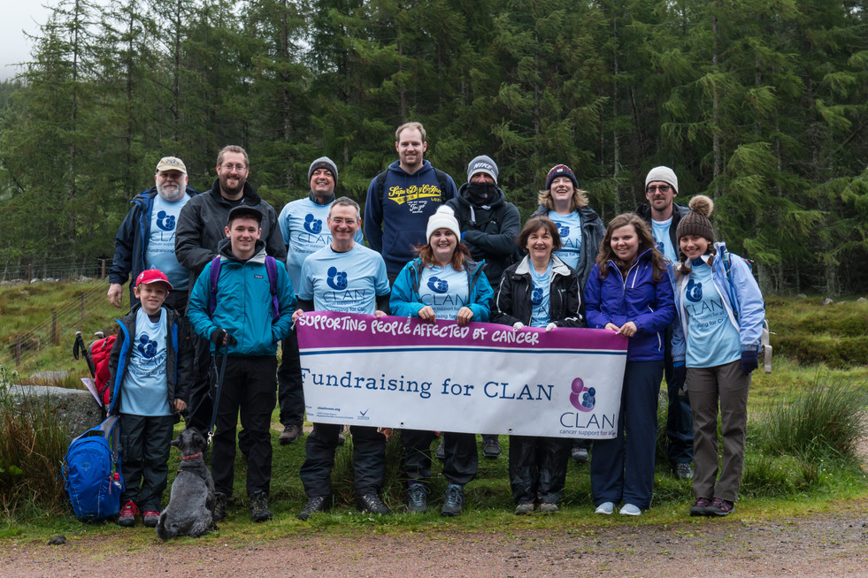 High spirits at the start of the walk up Lochnagar, despite the gloomy weather