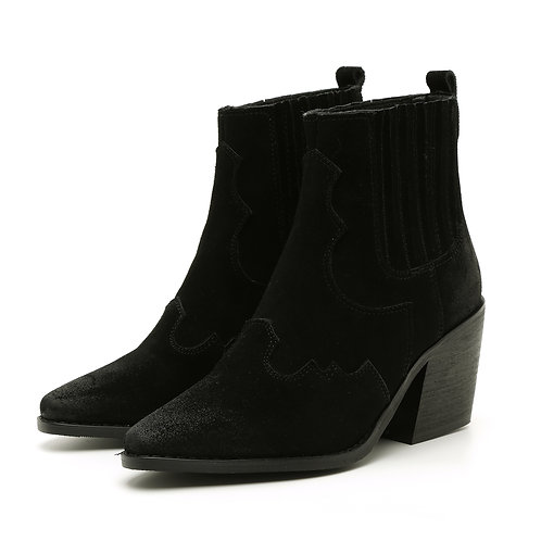 Black Suede Western Boots Size 34