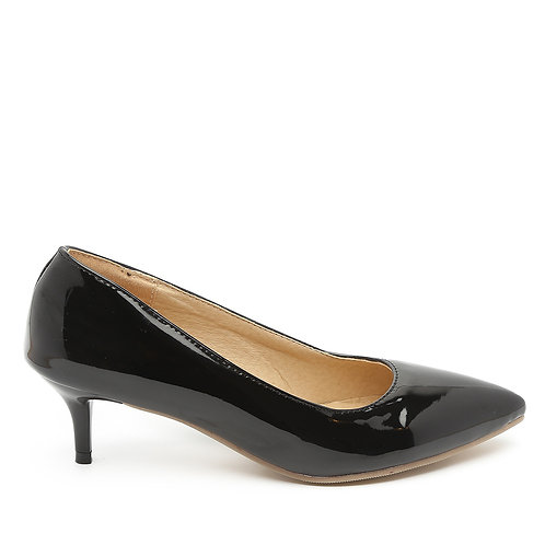Black Patent Medium Heel Stiletto Pumps Size 34-35