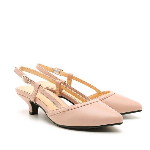 Pink Kitten Heel Slingback Shoes Size 32-35