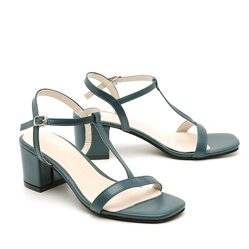 Grey Blue T-Strap Casual Heel Sandals Size 35