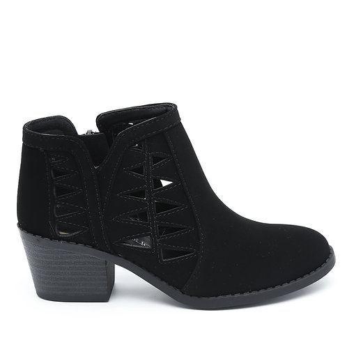 Black Cutout Wooden Heel Booties Size 30-34