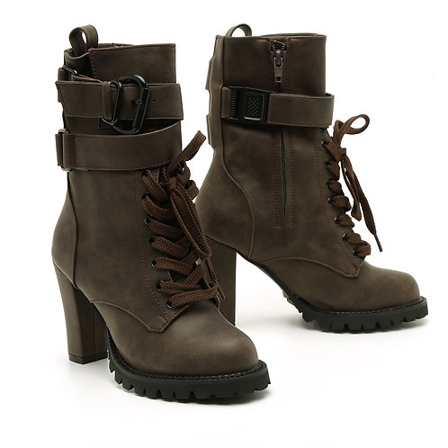 High Heel Brown Army Boots Size 33-35