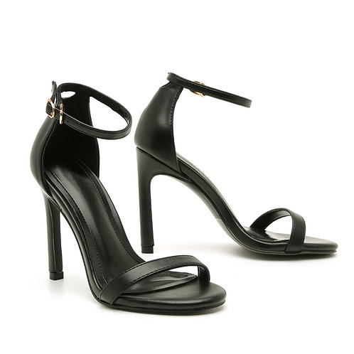 Black 10 CM Thin Heel And Straps Size 33-35