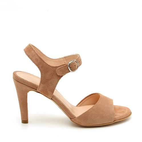 Apricot Suede Wide Front Strap Sandals Size 33-34