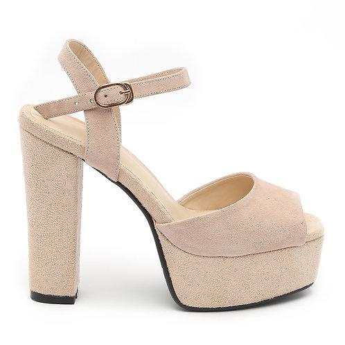 Nude-Beige High Heel Platforms Sandals Size 35