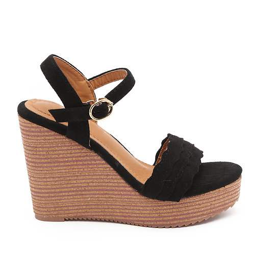 Black Wedge Heel Sandals Size 33-35