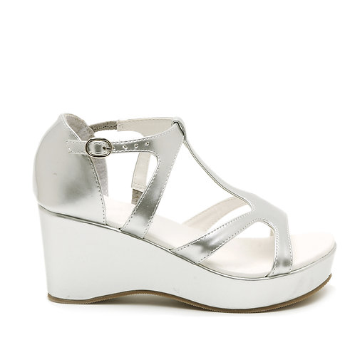 Shimmering Silver Wedge Heels Wedding Sandals Size 33