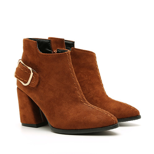Cognac Buckled High Heel Booties Size 33-35