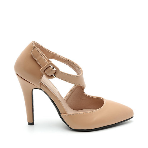 Cream Color Crossover Band Stilettos Size 32-35