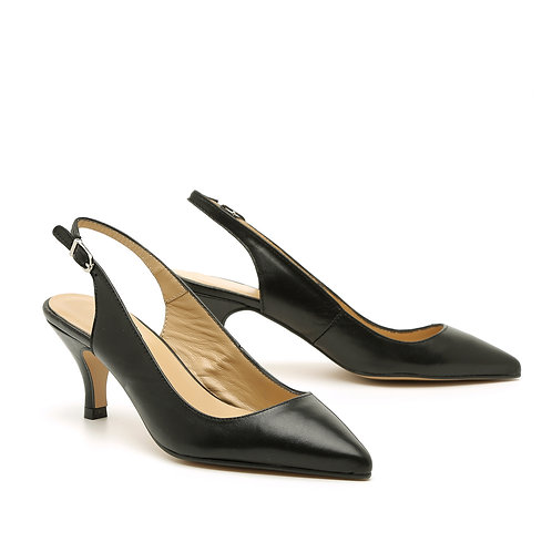 Black Leather Pointed Slingback Shoes Size 32-35