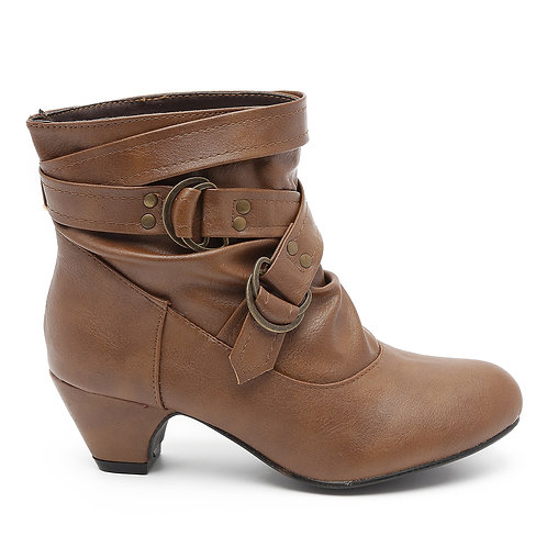 Tan Low Heel Buckled Boots size 32