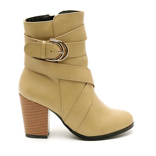 Beige Wooden High Heel Boots Size 32-35