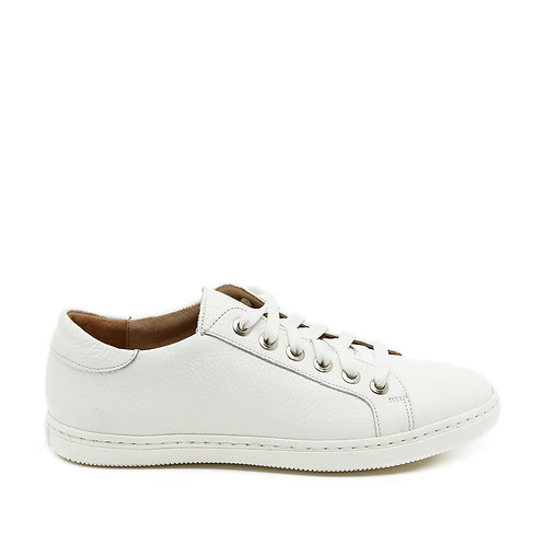 Flat White Leather Fashionable Sneakers Size 34