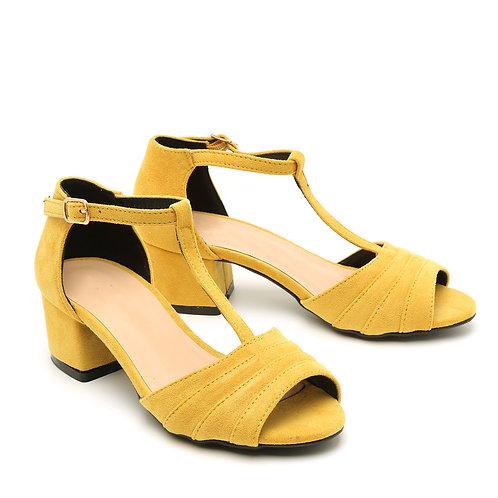 Mustard Yellow T-Strap Peep Toe Low Heel Sandals Size 32-35