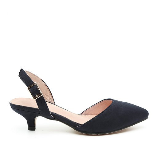 Low Heel Navy Color Slingback Shoes Size 31-35