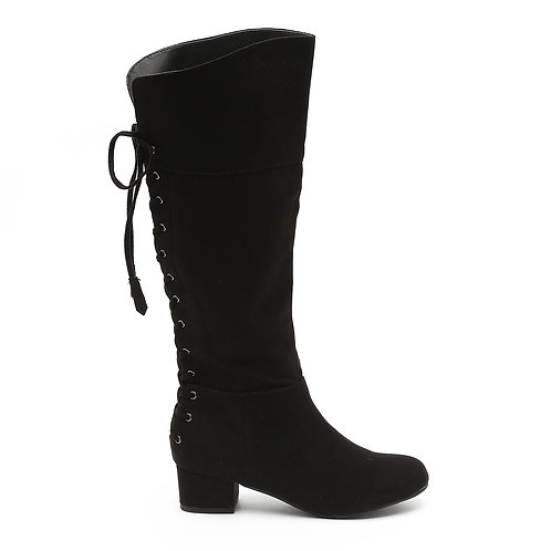 Black Knee High Back Laced Boots Size 33