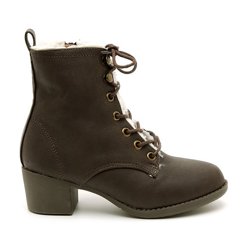 Chocolate Brown Fleece Lined Lace-Up Booties Size 32-35