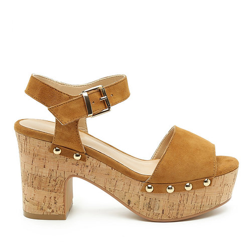 Tan Platform Cork Heel Sandals Size 35
