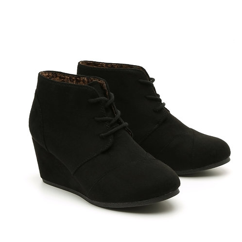 Black Lace-Up Wedge Booties Size 32-35