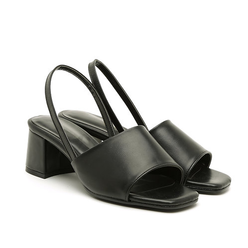 Black Slingback Square Heel Sandals Size 34