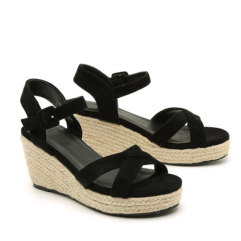 Black Braided Jute Wedge Medium Heel Sandals Size 32-35