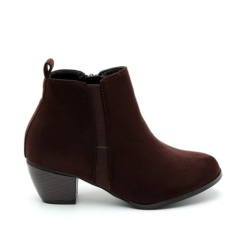Chocolate Rubber Sided Wooden Heel Booties Size 32-35
