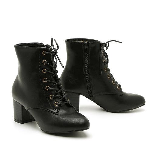 Black Lace-Up Wooden Block Heel Booties Size 32-35