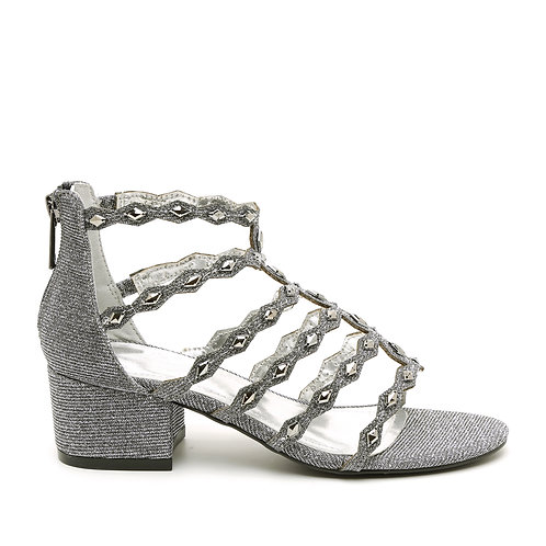 Grey Silver Multi Diamond Strapped Low Heel Sandals Size 34