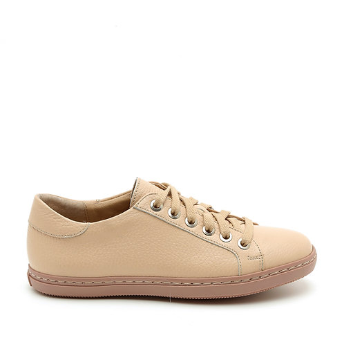 Flat Apricot Leather Fashionable Sneakers Size 33-34