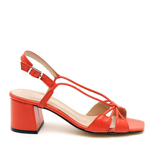 Bright Red Fine Strapped Medium Heel Sandals Size 34-35