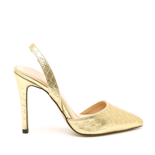 Gold Braided High Heel Stiletto Slingback Shoes Size 30-35