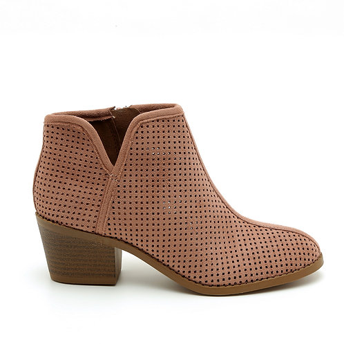 Pink Perforated Low Heel Booties Size 33