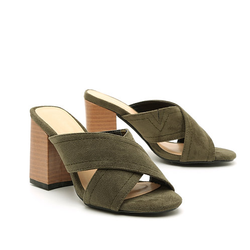 Khaki Wooden High Heel Crossed Straps Open Mules Size 32-35