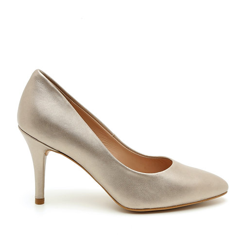 Delicate Silver Leather 8 CM Pumps Size 33-35