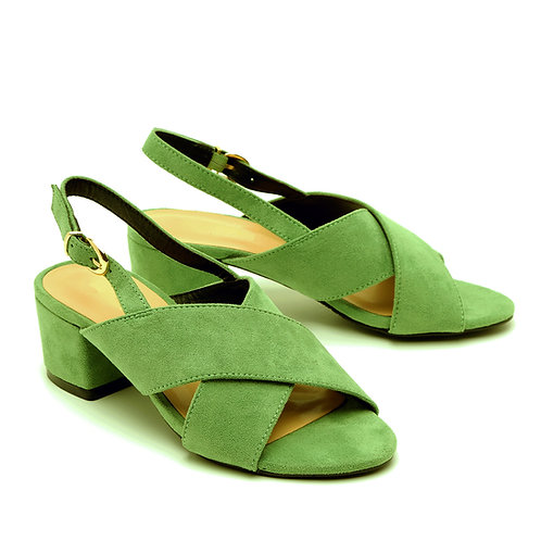 Green Crossed Strapped Low Heel Sandals Size 32-35
