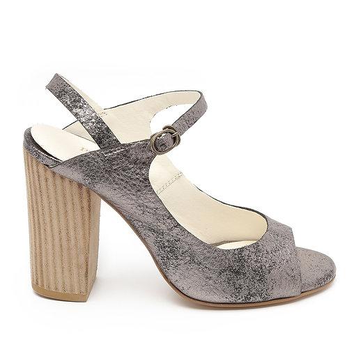 Silver-Grey Block Wooden Heel Sandals Size 33