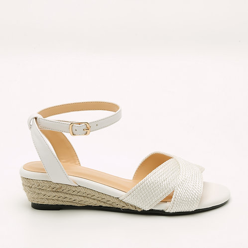 White Braided Jute Wedge Low Heel Crossed Straps Sandals Size 32-35