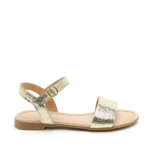 Shimmering Golden Flat Sandals Size 33-34