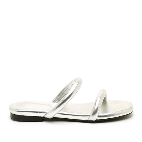 Silver Flat Chunky Open Slide Sandals Size 33-34