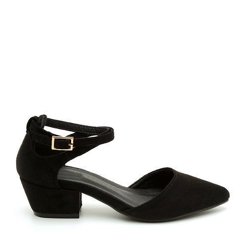 Black Open Side Ankle Crossover Straps Shoes Size 32-33