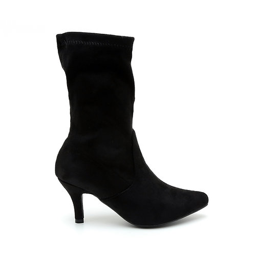 Black Mid-Leg Thin Heel Elastic Boots Size 32-34