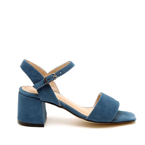 Blue Block-heeled Sandals Square-Shaped Toe Size 33-34