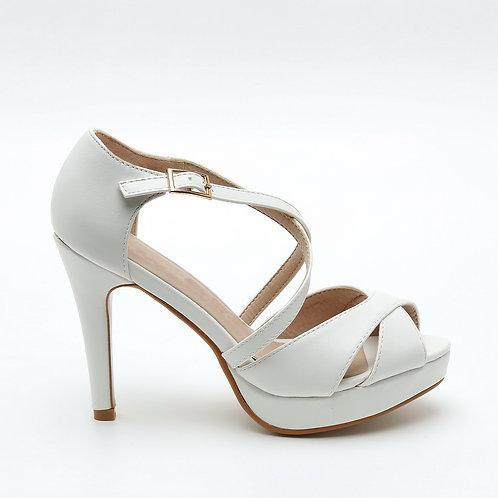White Platform Crossover Straps Wedding Sandals Size 32-35
