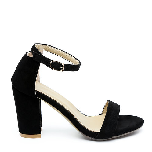 Black Block High Heel Sandals Size 35