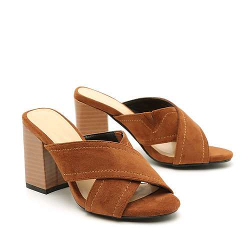 Light Brown Wooden High Heel Crossed Straps Open Mules Size 32-35