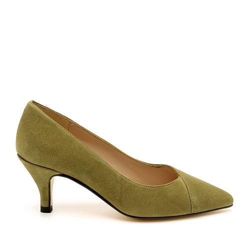 Olive Green Medium Heel Pointed Pumps Size 32-35
